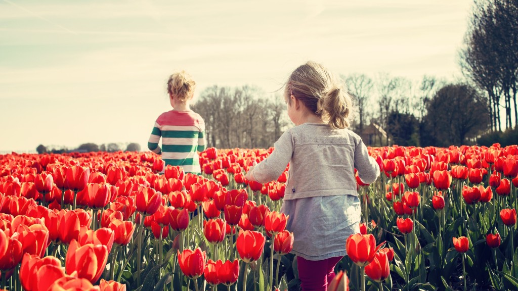 filhasChildren_playing_land_tulips_uhd