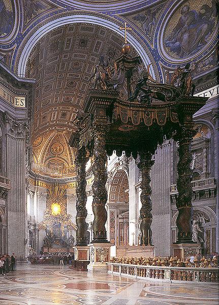 O túmulo de São Pedro se encontra logo abaixo desta estrutura