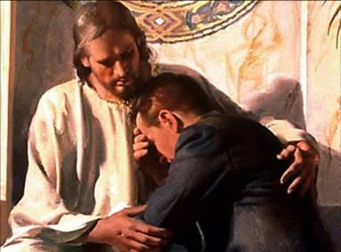Homem arrependido no colo de Jesus